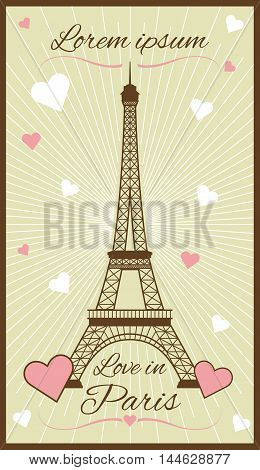Vector greeting card with eiffel tower. Famous architecture statue illustration