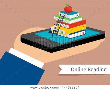 Mobile library in smartphone vector illustration. Isometric 3d online booking and e-library