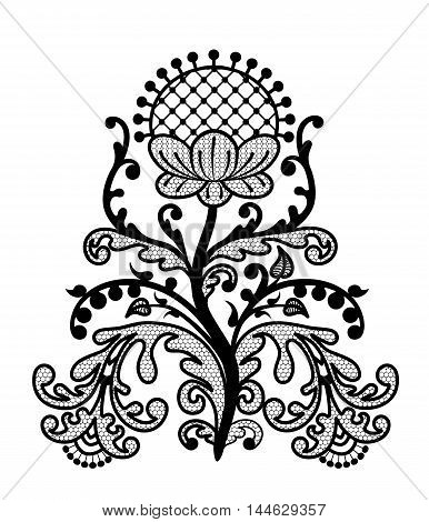 Decorative floral lace element isolated on white