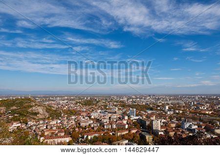 aerial view of bulgarian city plovdiv, which is famous for its old town