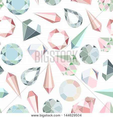 Seamless pattern with diamonds and crystals in pastel colors