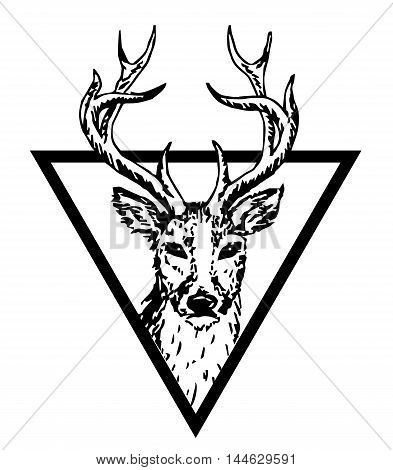 Hipster triangle hipster logo with deer isolated on white