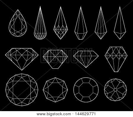 Set of diamonds and crystals on black background