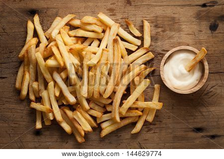 Fries French Sour Cream Still Life Flat Lay