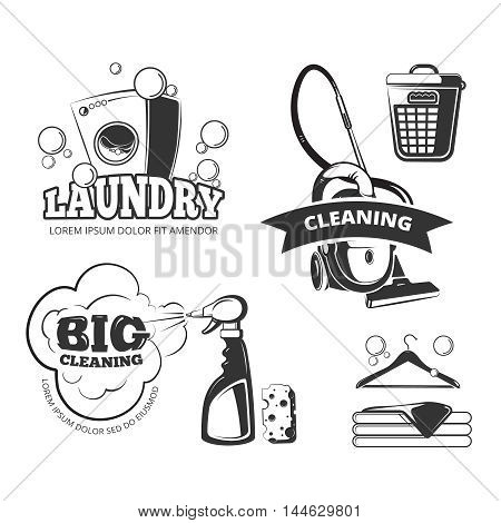 Retro cleaning and laundry services labels, emblems, logos, badges set. Clean and wash, basket and sponge, vector illustration