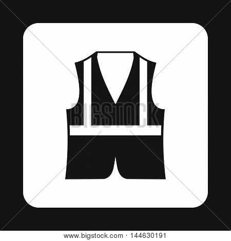 Reflective vest icon in simple style isolated on white background. Protection symbol