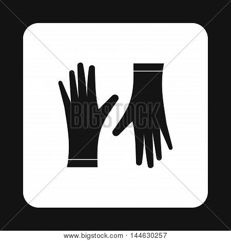 Rubber gloves icon in simple style isolated on white background. Protection for hands symbol
