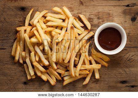 Fries French Ketchup Still Life Flat Lay