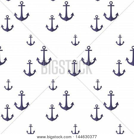 Pattern with anchors. Seamless pattern. Vector illustration on a white background. Swatch inside.