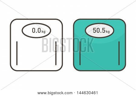 Outlined weighing scale icons set, collection isolated on white background.