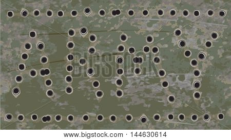 Army navy grunge vector background. Rusty iron pierced by bullets. Ratio 16:9.