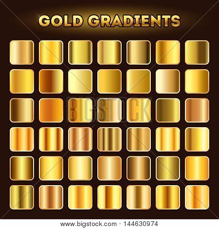 Gold gradients vector. Set of golden glistening gradient shades illustration