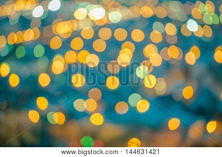 Beautiful Abstract Blue Circular Bokeh Background, City Lights With Instagram Toned Effect, Closeup