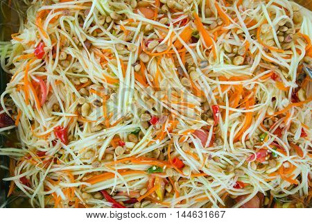 Papaya Salad Or Somtum Local Famouse Food (papaya Pok Pok) Of Thailand