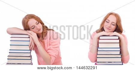 Woman student with stacks of books