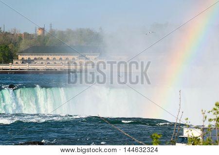 American side of Niagara Falls with rainbow, New York, USA