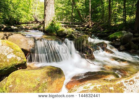 Small waterfall on a mountain river in summer day