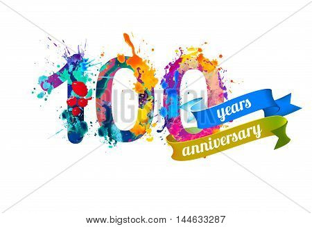 100 (one hundred) years anniversary. Vector watercolor splash paint