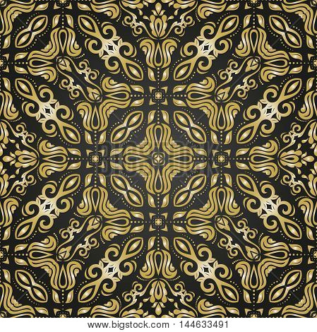 Damask vector classic golden pattern. Seamless abstract background with repeating elements