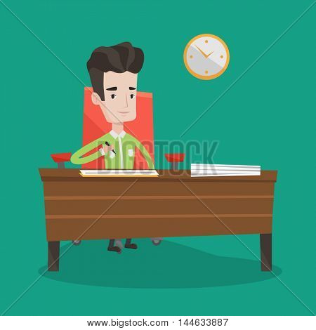 Businessman signing business documents in office. Man is about to sign a business agreement. Confirmation of transaction by signing of business contract. Vector flat design illustration. Square layout.