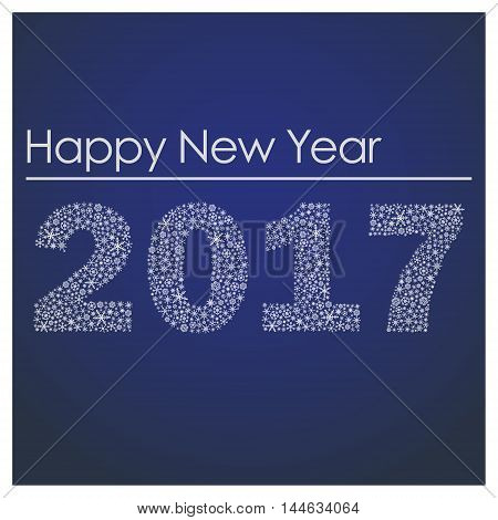 Blue Happy New Year 2017 From Little Snowflakes Eps10