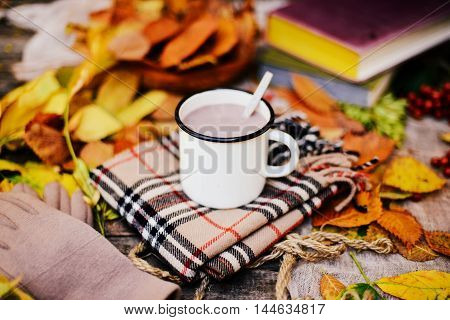 Warm Knitted Scarf And A Book On A Wooden Tray. Peaceful Fall Fr