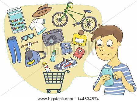 Online shopping for clothes, fashion accessories and things for leisure and hobby. Man shopping with mobile phone.