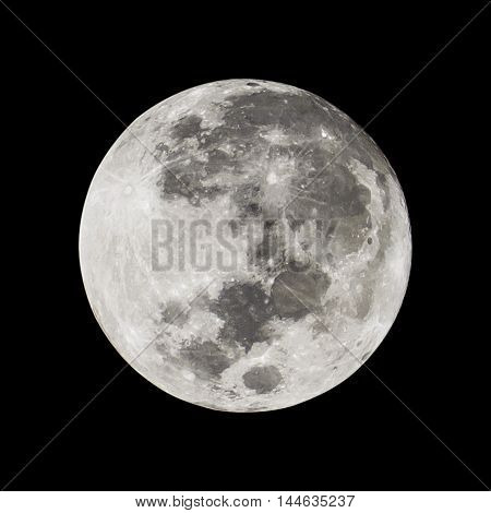 Full moon isolated on a black background