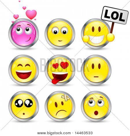 Conjunto de nove smileys