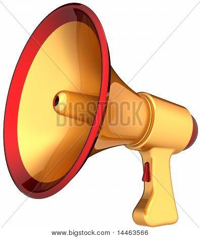 Megaphone loudspeaker golden