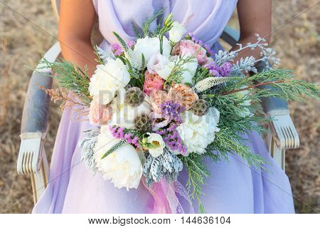 gorgeous bridal bouquet with white peonies peach rose and thuja
