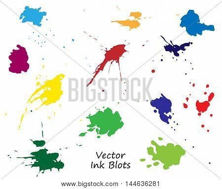 vector ink blots set isolated over white background. Hand drawn elements