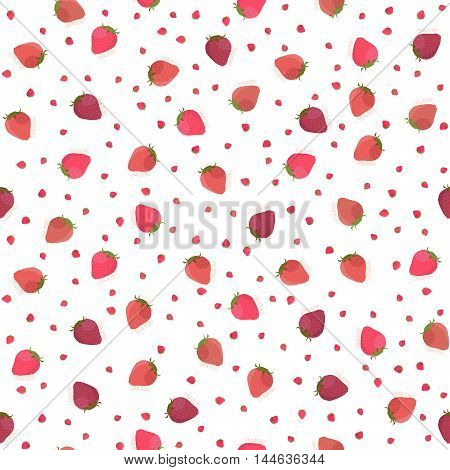 Abstract berry texture. Seamless pattern. Fruit background. Red and pink strawberries. Summer harvest endless backdrop. Dessert template.