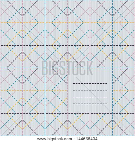 Text frame with rhombs. Sashiko motif. Can be used as seamless pattern. Copy space for text. Abstract backdrop. Traditional Japanese Embroidery Ornament. Endless background.