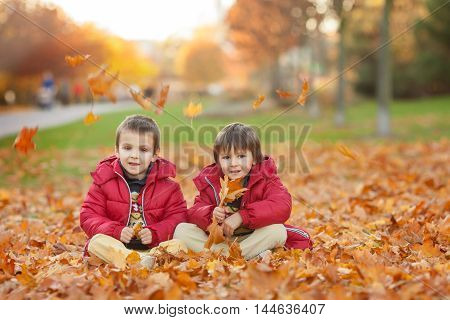 Two Kids, Boy Brothers, Playing With Leaves In Autumn Park