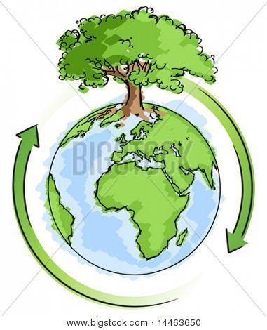 Terra simples, com uma árvore
