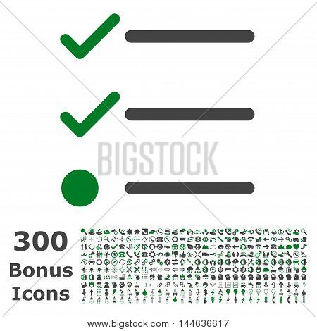 Checklist icon with 300 bonus icons. Glyph illustration style is flat iconic bicolor symbols, green and gray colors, white background.