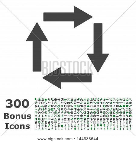 Circulation Arrows icon with 300 bonus icons. Glyph illustration style is flat iconic bicolor symbols, green and gray colors, white background.
