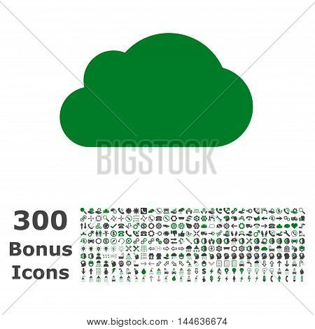 Cloud icon with 300 bonus icons. Glyph illustration style is flat iconic bicolor symbols, green and gray colors, white background.