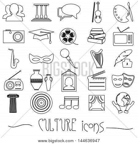 Culture And Art Theme Black Simple Outline Icons Set Eps10