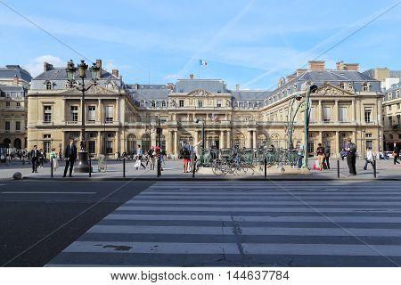 PARIS, FRANCE - MAY 12, 2015: This is facade of the Palais Royal (the building of the State Council).
