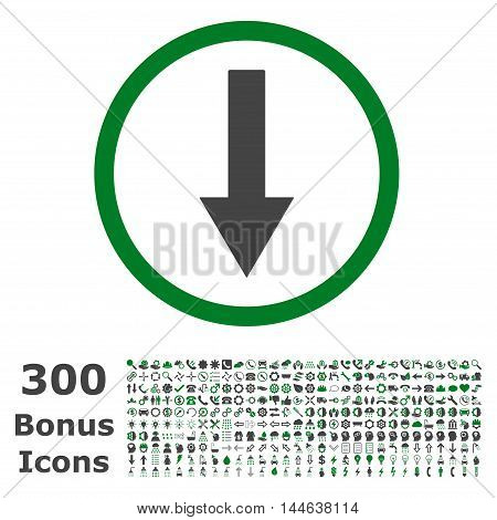 Down Rounded Arrow icon with 300 bonus icons. Glyph illustration style is flat iconic bicolor symbols, green and gray colors, white background.