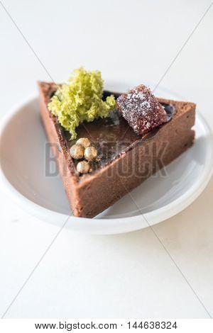 Mini Chocolate Tart in white dish