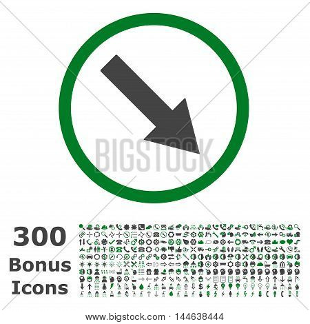 Down-Right Rounded Arrow icon with 300 bonus icons. Glyph illustration style is flat iconic bicolor symbols, green and gray colors, white background.