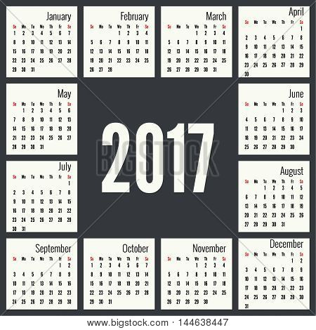 Monthly Calendar for 2017.  Simple month grid template. Vector