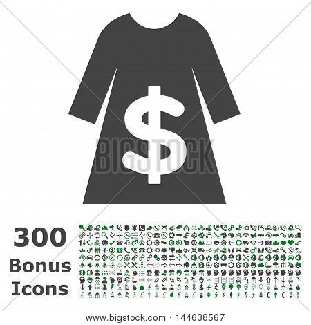 Dress Sale icon with 300 bonus icons. Glyph illustration style is flat iconic bicolor symbols, green and gray colors, white background.