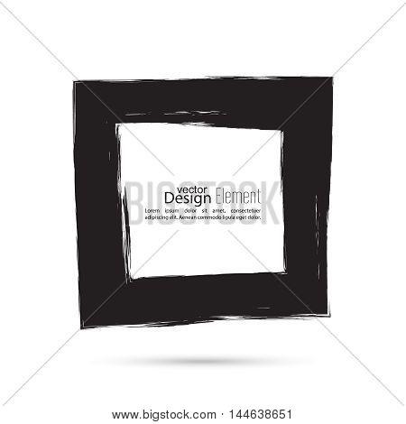 Hand drawn black square, photo, foto frame. Text box smears. Vector Black border.