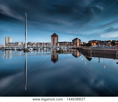 Evening at the River Tawe and the Millennium bridge in Swansea
