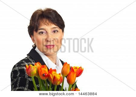 Spring Mature Woman With Copy Space