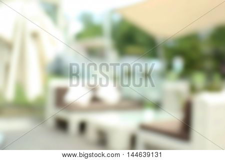 Blurred background of outdoor cafe